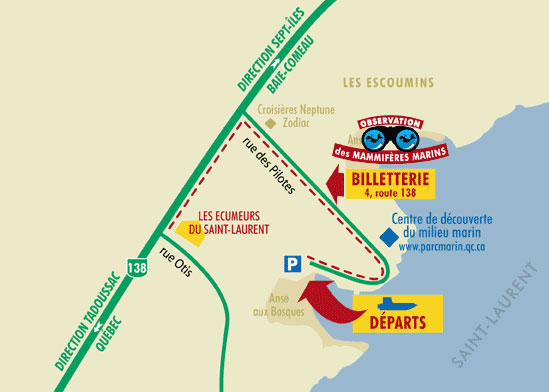 Map to go in Les Escoumins